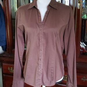 Copper Key Brown Stretch Fitted Buttkn Blouse XL
